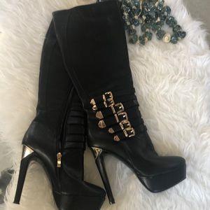LD black gold buckle tall platform heel sexy boots
